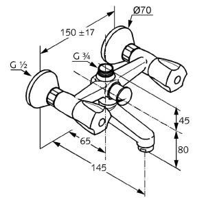 Kludi standard kádtöltő csaptelep 250010515