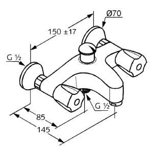 Kludi standard kádtöltő csaptelep 251250515